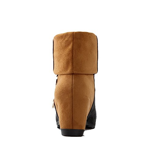 Toe On Closed Assorted Women's Low Allhqfashion Pull Color Heels Top High Brown Boots Round znw6SY4xq4