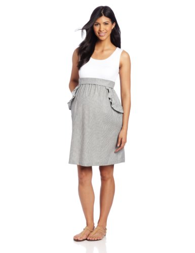 Maternal America Women's Maternity Ruffle Pocket Dress, White/Black Seersucker, Small by Maternal America