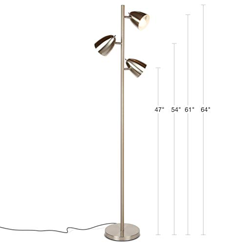Brightech Jacob - LED Reading and Floor Lamp for Living Rooms & Bedrooms - Classy, Mid Century Modern Adjustable 3 Light Tree - Standing Tall Pole Lamp with 3 LED Bulbs - Satin Nickel by Brightech (Image #2)