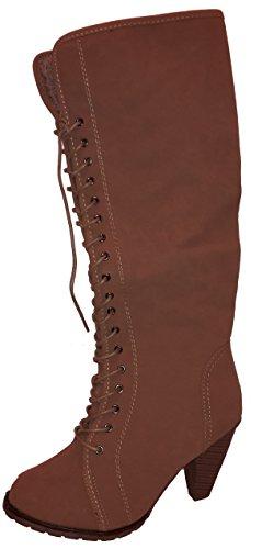 Sehr hohe Stiletto High Heels Winterstiefel mit Fell in topmoderner Optik, beige oder braun, Damenschuhe, STI035, Schuh für Damen, sehr hohe gefütterte Stiefel, echte Hingucker-Schnürstiefel. Beige