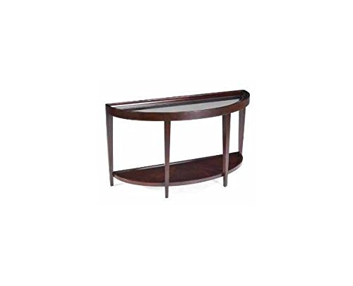 Magnussen T1632-75 Carson Sienna Finish Wood Demi Sofa Desk Table Half Glass Top Desk