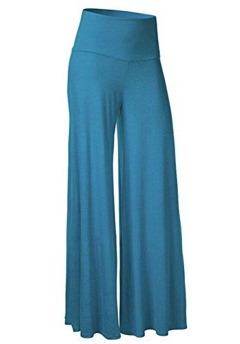 Feilongzaitianba Casual Pants Women Black Slim High Waist Flare Career OL Loose Wide Leg Pant Long Trousers Pantalones Lake blue - Quiz Careers