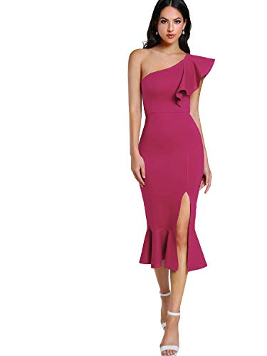 Floerns Women's Ruffle One Shoulder Split Midi Party Bodycon Dress Hot Pink L