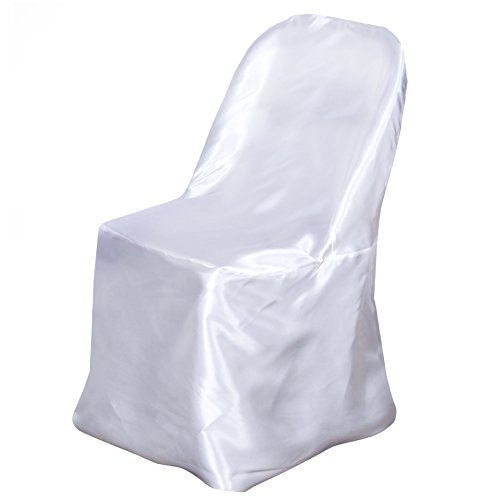 BalsaCircle 50 pcs White Satin Folding Chair Covers for Party Wedding Linens Decorations Dinning Ceremony Reception Supplies