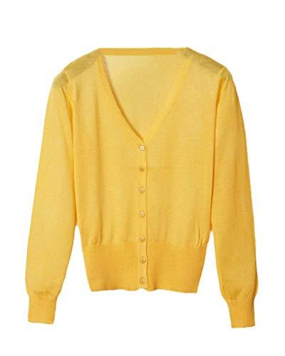 Button Cappotto Base Maniche Eleganti Targogo Giacca 2 Ragazza Maglia Comodo neck Fashion Knit Autunno Casual Gelb Giacche A V Monocromo Primaverile Donna Lunghe IRqHw8aqx