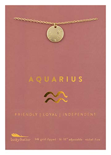 "Lucky Feather Aquarius Zodiac Sign Constellation Pendant Necklace for Women, 14K Gold-Dipped with Adjustable 16"" - 18"" Chain"