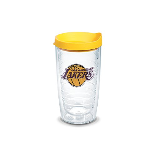Tervis 1051626 NBA Los Angeles Lakers Primary Logo Tumbler with Emblem and Yellow Lid 16oz, Clear by Tervis