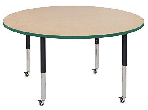 ECR4Kids Thermo-fused 60'' Mobile Round  School Activity Table, Super Legs w/ Glides and Casters, Adjustable Height 19-30 inch (Maple/Green/Black) by ECR4Kids