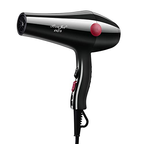 Benjet HairDryers 1875W Blow Dryer Lightweight,Professional High Power Hair Dryers Negative Ions Tourmaline Ceramic Hair Dryer,Suitable for Families and Salons,Low Noise and Large Air Volume black