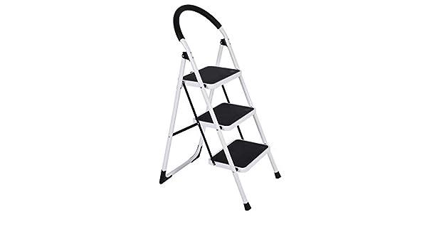 Taburete de escalera plegable de 3 peldaños, escaleras con mango de goma y pedal antideslizante ancho, escalera de acero resistente para el hogar, el mercado, la oficina: Amazon.es: Juguetes y juegos