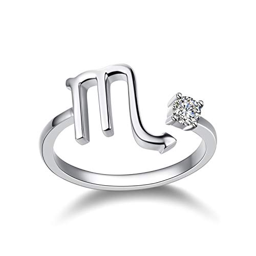 (YFN Sterling Silver Scorpio Ring Horoscope Zodiac Sign Constellation Astrology Adjustable Cute Rings for Women Teen Girls)