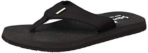 Sanuk Men's Beer Cozy Coaster Flip-Flop, Black, 10 M US