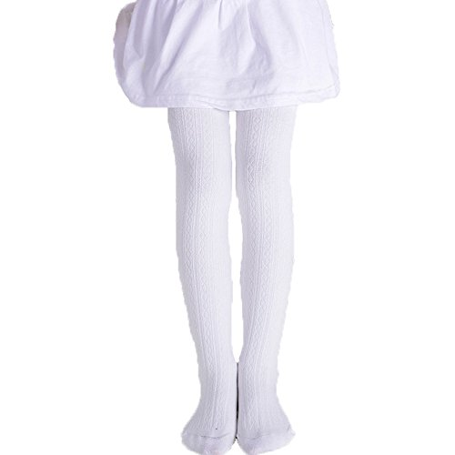 Monvecle Girls' Thick Cotton Stockings Socks Stretch Cable Knit Footed Tights White 4-6 from Monvecle