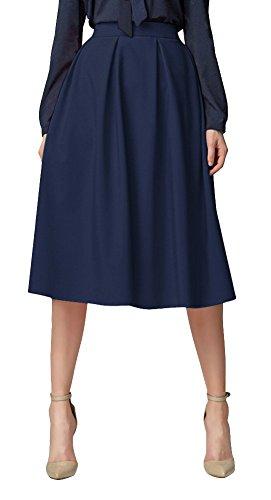 Urban GoCo Midi Jupe Plisse de Femmes Vintage De A-Ligne Taille Haute Jupe Longue Avec Poches Bleu Marine