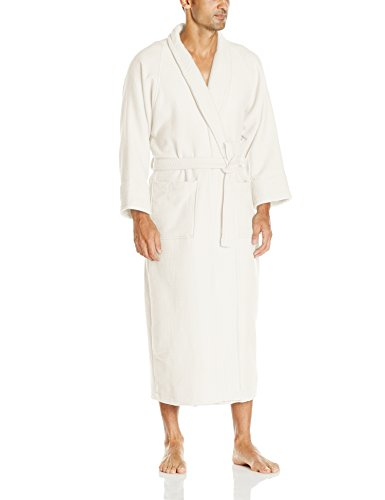 (Superior 100% Cotton Waffle Robe with Terrycloth Lining and Shawl Collar, Oversized Unisex Hotel & Spa Bath Robes for Women and Men - XL, Cream)