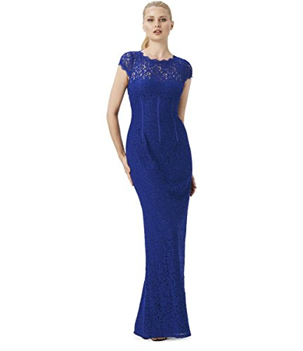 Adrianna Papell Cap Sleeve Open Cut Back Floral Lace High Slit Long Evening Dress, Size ()