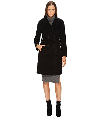 Diane von Furstenberg Women's Double Breasted Tie Waist Wool Coat Black 14 - Breasted Double Cashmere