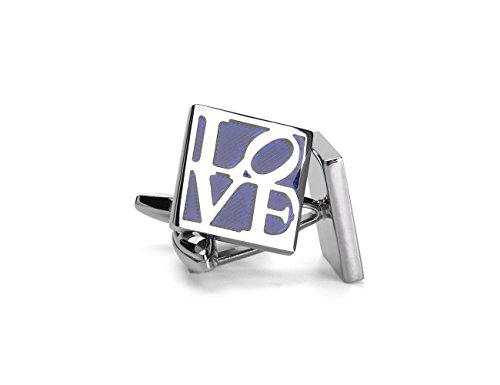 Cufflinks Unique Square Blue LOVE Engraved Cuff Luxury French Shirts Silver Cuff Link for Men (Silver Cufflinks Nickel Plated)