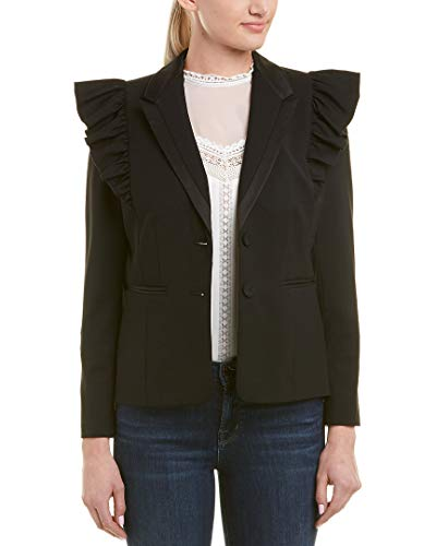 Rebecca Taylor Women's Ruffle Wool Jacket, Black, 2 ()