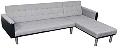 """L-Shaped Sofa Bed Fabric Black and Gray Comfortable Wooden Frame + Fabric Upholstery 86"""" x 61"""" x 27"""" SKB Family"""