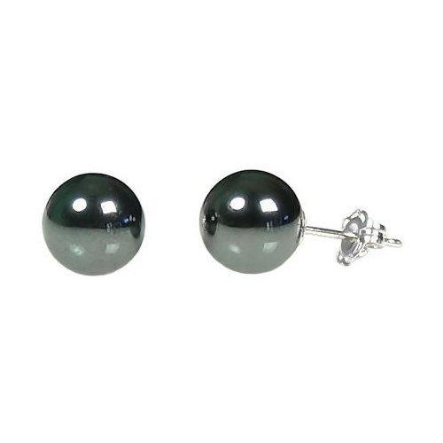Trustmark 925 Sterling Silver 8mm Created Black Hematine Ball Stud Post Earrings