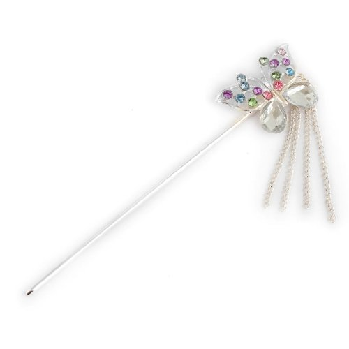 DealMux Women Coloful Rhinestone Inlaid Accent Metal Butterfly Shape Hair Pin - Inlaid Accent