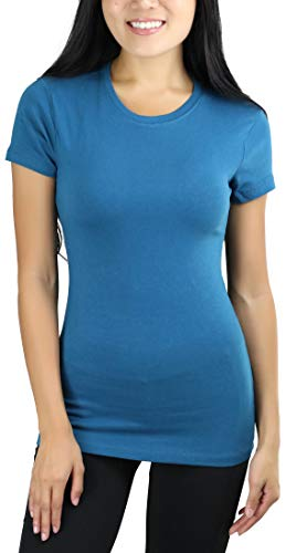- ToBeInStyle Women's Slim Fit Crew Neck S.S. Longline Tee - Teal - Large