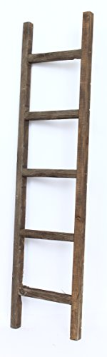BarnwoodUSA Rustic 5 foot Decorative Ladder - 100% Reclaimed Wood Ladder, Brown