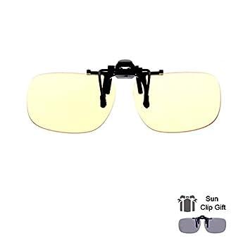 Blue Light Filter Clip On Glasses, Shileded Blue Light Blocking Computer/Gamer Glasses Flip Up Anti Eye Strain UV Protection with Amber Tint Lens-FDA Registered(Yellow+Brown) Joysee 4336303150