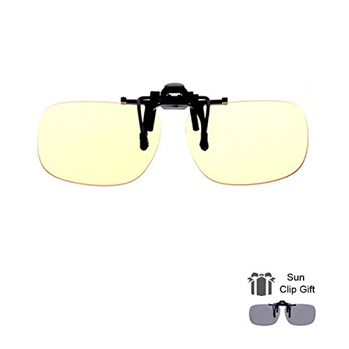 Blue Light Filter Clip On Glasses,Shileded Blue Light Blocking Computer/Gamer Glasses Flip Up Anti Eye Strain UV Protection with Amber Tint Lens-FDA (Permanent Contact Lenses)