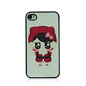 JAJAY- Red Girl Pattern Dull Polish Hard Case for iPhone 4/4S