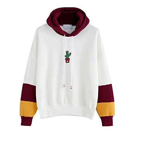 HGWXX7 Women Hoodie Sweatshirt Cactus Print Long Sleeve Tops Blouse Hooded Pullover(S,Wine)