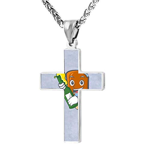 Price comparison product image Simple Small Zinc Alloy Religious Cross Necklace Men Women Print Ice Cream Beer