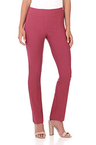 Rekucci Women's Ease in to Comfort Straight Leg Pant with Tummy Control (10,Desert Rose)