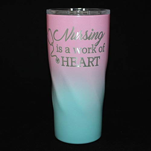b916de84385 Personalized Powder Coated Tumbler. Engraved Nursing Is A Work Of Heart.  Add Name to Back. Customize the size, color and, name. Ombre option.