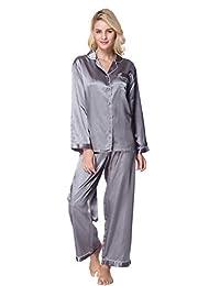 Lavenderi Women's classical satin pajama sets silky sleepwear soft nightwear