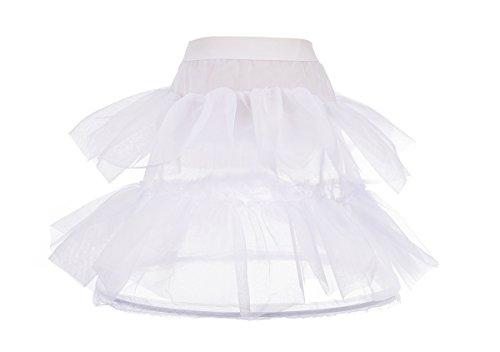 Dressy Daisy Girls' 1-Hoop 2 Tiers Crinoline Petticoat Slip Underskirt for Girl Dresses Length 20 Inches White