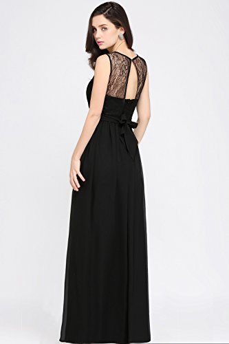 ... Babyonlinedress Vestido de chiffón larga para fiesta cuello redondo sin  mangas espalda semicubierta estilo A line 6f762b348e81