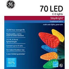 GE Staybright LED C5 Multi-Color Christmas Lights, 70 Count