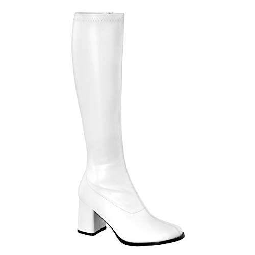 Lace Up Gogo Boots (Funtasma Women's Gogo-300 Knee-High Boot,White,8 M)