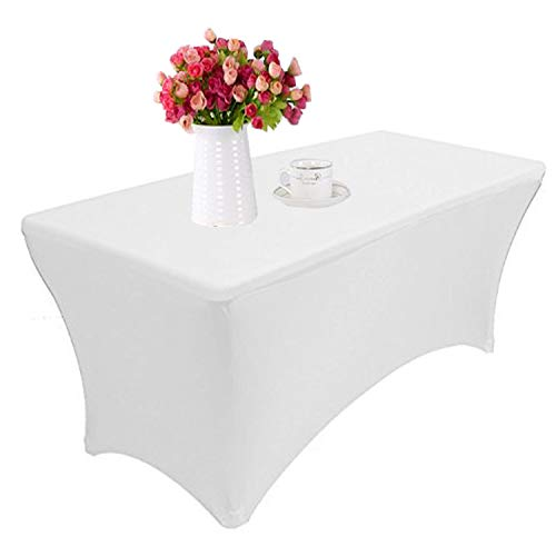 Reliancer 2 Pack 4\6\8FT Rectangular Spandex Table Cover Four-Way Tight Fitted Stretch Tablecloth Table Cloth for Outdoor Party DJ Tradeshows Banquet Vendors Weddings Celebrations (2PC 6FT, White)