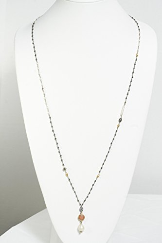 (Pyrite and Pearl Beaded Necklace with Baroque Pearl and Pink Quartz Pendants )