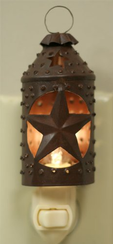 Colonial Tin Works Paul Revere Punched Star Nightlight - Primitive Rust