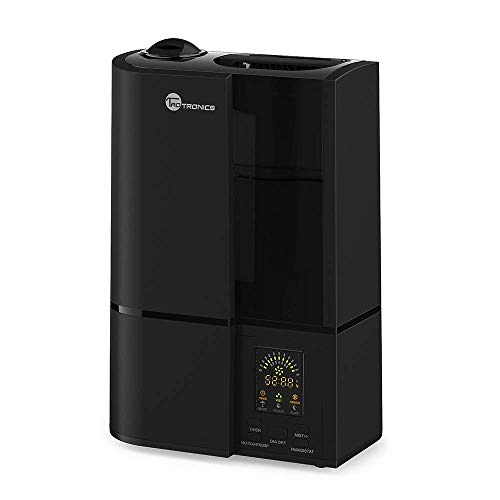 TaoTronics Cool Mist Humidifier, LED Display, 4L Ultrasonic Humidifiers for Home Bedroom, with Filter, Adjustable Mist Levels, Timer, Waterless Auto Shut-off --(4L/1.06 Gallon, US 110V) Black