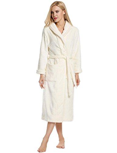 Eshion Women's Fleece Robe, Soft Zip-Front Bathrobe