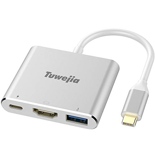 USB C Adapter Tuwejia Type C to HDMI 4K+USB 3.0+USB-C Converter Cable Charging Port Adapter Cable with Large Projection for MacBook/Chromebook Pixel/Sumsang Galaxy S8/S9/Yoga 900/Lumia 950Xl (Usb 3-0 Type C To Hdmi Adapter)