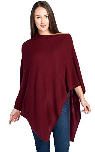 Mariyaab Women's 100% Cashmere Soft Travel Wrap Poncho Sweater(AC07PON, Burgundy, L/XL)