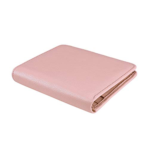 Blocking Id Light Pink Mini Bifold Women's Leather Itslife With Window Natural Small Pocket Purse Rfid Ladies Wallet Compact Ew1xqOx