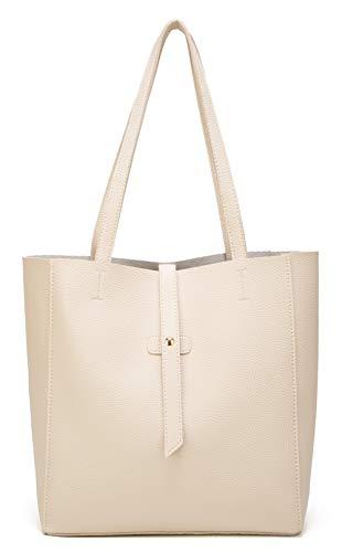 Dreubea Women's Large Tote Shoulder Handbag Soft Leather Satchel Bag Hobo Purse Beige]()