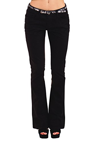 Bootcut Stretch Belt (Be Bop Bebop Women's Flare Pant, Black, Size 7, Stretch Cotton Twill, Removable Belt)